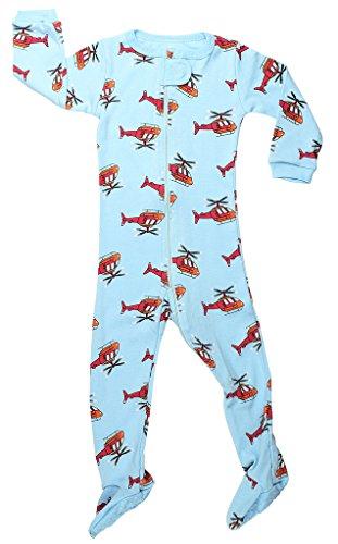 elowel | Pijamas De Nino | Bebé, Pequeño, Ropa De Dormir | 1 Pieza | Algodon | Tamaño: 12-18 Meses | Colro: Azul | Diseño: Helicóptero