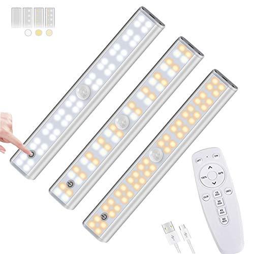 CaaWoo Luz Armario LED, 40 LED 2PCS Lámpara Nocturna inalámbrica USB Recargable Luces LED Armario con 3 modos de iluminación, Lámpara LED de Armario con Tira Magnética para Armario,Pasillo, Escalera