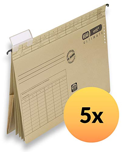ELBA 100570036 Projekt und Personalhefter vertic ULTIMATE 5er Pack aus Recycling-Karton für DIN A4 braun Blauer Engel ideal im Büro und der Behörde