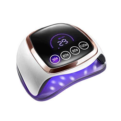 168W Lámpara LED Uñas, Secador de Uñas Rápido Profesional LED UV Gel Esmalte De Uñas Curado Luz Máquina, Secadores De Uñas Con Sensor Automático/4 Temporizadores/Pantalla LCD
