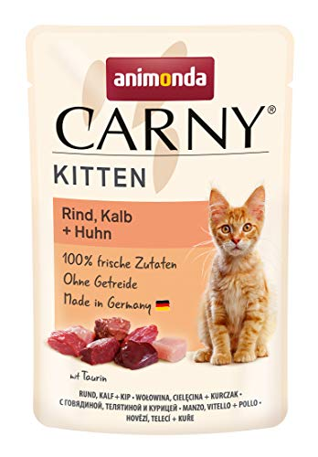 animonda Carny Kitten Katzenfutter, Nassfutter Katzen bis 1 Jahr, Rind, Kalb + Huhn, 12 x 85 g