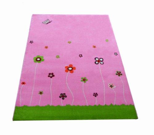 Little Helper IVI Tapis Epais Design Jardin d'Eté Rose 160 x 230 cm