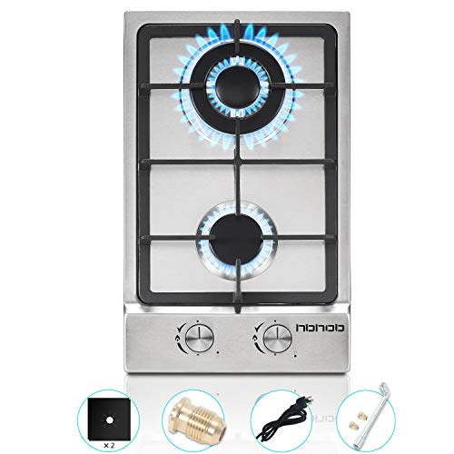 12In Gas Cooktop High Gas Stove Gas Hob Stove Top Rv Stove 2 Burners Gas Range Double Burner Gas Stoves Kitchen High Gas Stove Stainless Steel Built-In Gas HobLPG/NG (12, silver)