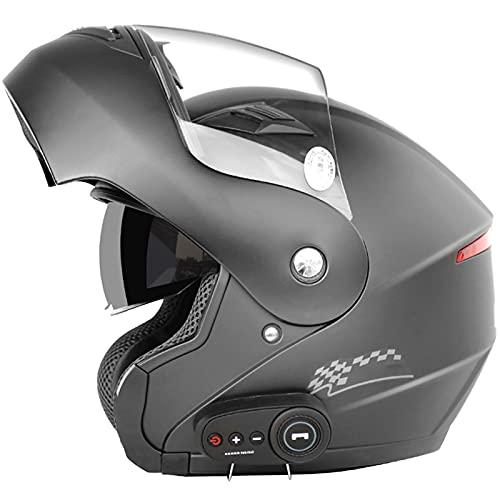 Casco Abatible Delantero para Moto Ece/Dot Bluetooth Modular Cascos de Moto Integrales Visor de Doble Lente Cascos de Turismo Abatibles con Micrófono dara Hombres y Mujeres 57-64cm,#5,XL