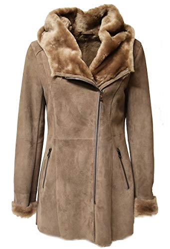 MADDOX Abrigo corto para mujer de piel de cordero en color beige,...