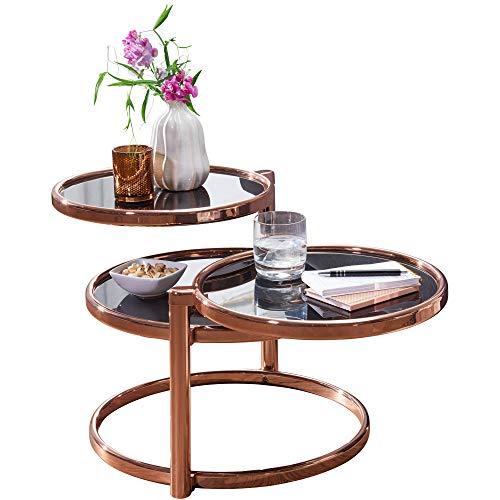 FineBuy Couchtisch SINA mit 3 Tischplatten 58 x 43 x 58 cm | Beistelltisch rund | Design Wohnzimmertisch Glas/Metall | Designer Glastisch Sofatisch modern | Kleiner Loungetisch