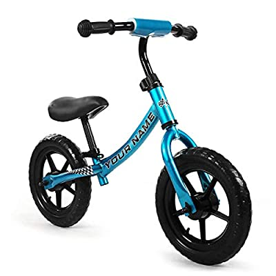 Kids Balance Bike for Boys & Girls Personalizes Your Bike with Your Name, Push Bike for Toddlers, and up to Five-Year-Olds. (Blue Black)