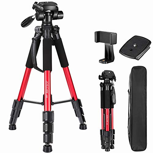 """JOILCAN 65""""Compact Light Weight Travel Portable Aluminum Camera/Phone Tripod for Canon Nikon Sony DSLR Camera with Universal Phone Mount & Carry Case(Red)"""