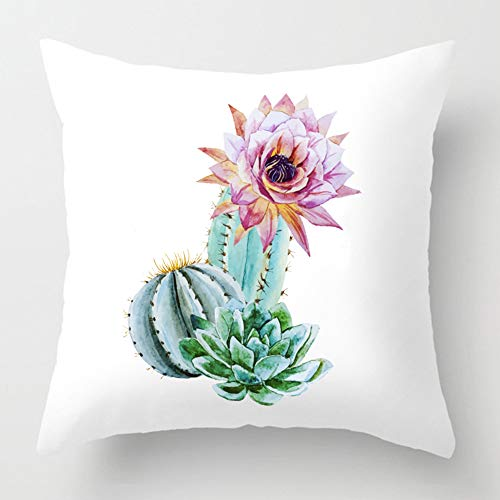 KACOPOL Succulents Plants Cactus Prickly Pear Throw Pillow Cover Super Soft Short Plush Farmhouse Home Decor Pillowcase Cushion Cover for Sofa Square 18x18 Inches(Cactus with Flower)
