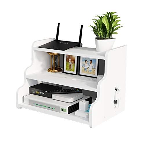 JIE KE Multifunción Set-Top Box Router Rack Wall Router Rack TV Set-Top Box Caja de Almacenamiento de Pared TV Montaje de Pared con Estante (Color : White, Size : 30 * 20 * 21.7CM)