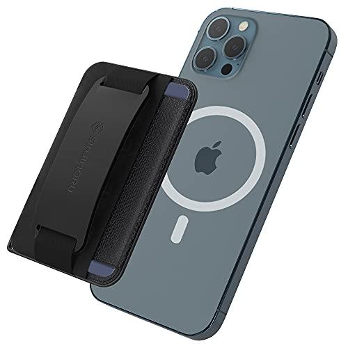 Sinjimoru Magsafe 対応 スマホスタンド マグネットカード入れ、紛失防止 安全タグパッチ付きの 3in1 iPhoneリングバンド カードホルダー Qi充電 対応 脱着簡単 片手操作便利 どこでも楽に動画視聴できる iPhone12シリーズ対応 Apple マグセーフアクセサリー。M-BGrip ブラック