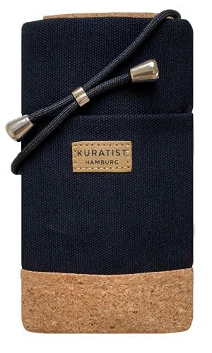 Kuratist Handy Umhängetasche - NELA - Kompatibel mit iPhone & Galaxy sowie den meisten gängigen Modellen - Handgemacht aus Baumwoll-Canvas/Kork (Medium, Black)