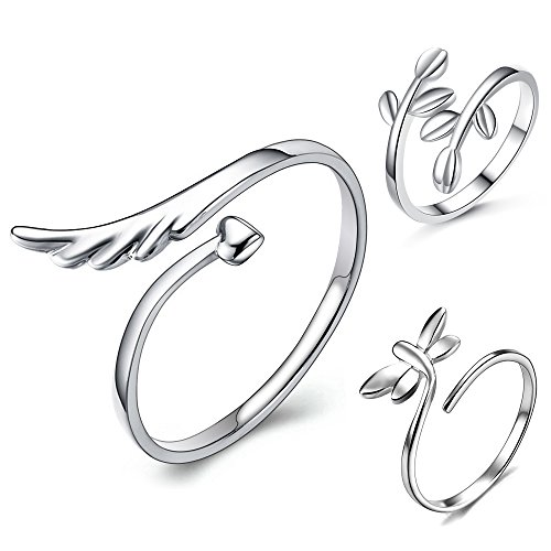 lauhonmin 3pcs S925 Sterling Silver Open Rings Set Finger Ring Joint Ring Toe Ring Beach Jewelry Gifts for Women Girls Adjustable (Style A)