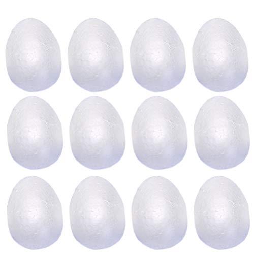 BESTOYARD 8 cm Bianco Schiuma Uova di Pasqua Fai da Te Pittura Graffiti Ornamento Polistirolo Giocattoli Uovo per Pasqua Festa Artigianato Modellazione Progetti, Confezione da 24