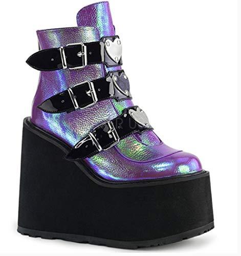 Frauen Punk Platform Stiefel Mode Mixed Color Schnallenriemen Wedge High Heels Frühling Herbst Round Toe Party Goth Stiefeletten