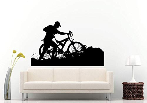 Sports Series Wallpaper Mountain Bike Rider Silhouette Vinyl Wall Stickers Home Living Room Decoration Wall Decals 57x90cm