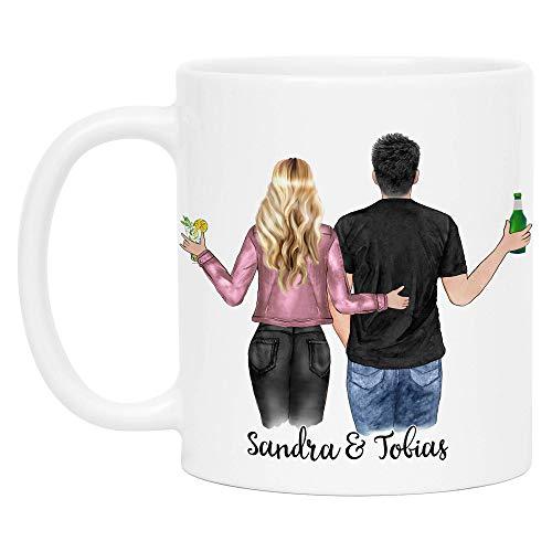 Kiddle-Design Pärchen Tasse Personalisiert mit Namen Jahrestag Geschenk für Paare Freund und Freundin Individuelle Kaffeetasse