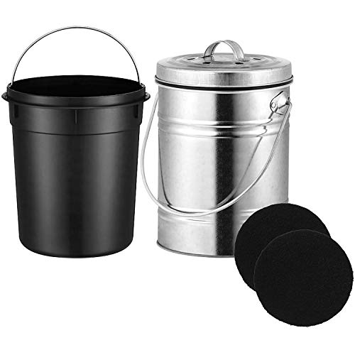 Abuff Kitchen Compost Bin, 304 Stainless Steel Indoor Compost Bins with Lid, Plastic Liner & 2 Charcoal Filters in Black, 0.8 Gallon Kitchen Recycling Bin Pail Clean & Odor Free