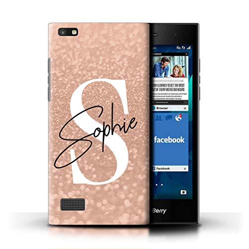 eSwish Personalisiert Persönlich Verblaßter Blick Glitzer Effekt Hülle für BlackBerry Leap/Rose Gold Rosa Unterschrift Design/Initiale/Name/Text Schutzhülle/Hülle/Etui