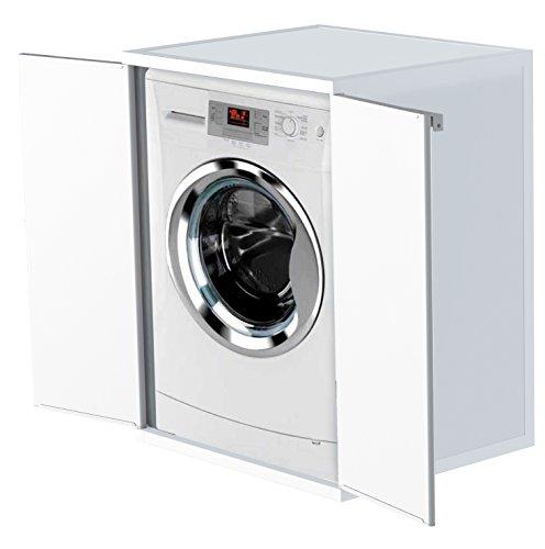Mongardi Überbauschrank für Waschmaschine und Trockner. Aus robustem Kunststoff in Weiß mit abschließbaren Türen. Abwaschbar und leicht zu reinigen. Maße: 68 x 59 x 88 cm