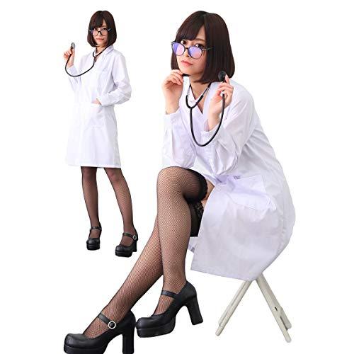 【 聴診器付き 】monoii ナース コスプレ 女医 医者 コスチューム ドクター 看護婦 衣装 セクシー 白衣 服 長袖 レディース ハロウィン 聴診器 ナースコス 仮装 かわいい c938