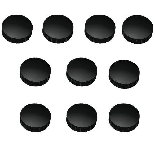 10x Magnete, Schwarz Ø 24mm, Haftmagnete für Whiteboard, Kühlschrankmagnet, Magnettafel, Magnetwand, Magnet Rund