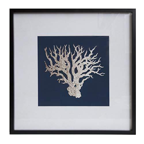 Quadro corallo grezzo e fondo con cornice in legno colore nero Misure: 60x2,5x60 centimetri Materiale: legno (rif. 2351702)