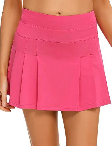 EISHOPEER Falda de tenis plisada para mujer, ligera para correr, golf, con bolsillos cortos, XS-XXL, Skort, M, Negro