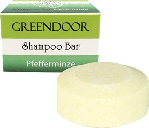 Greendoor Shampoo Bar Pfefferminze 75g, festes Haarshampoo ohne Sulfate, Naturkosmetik, Bio Brokkolisamenöl, Aloe Vera, mit reinem ätherischen Öl, natürliche Haarpflege, normales und fettiges Haar