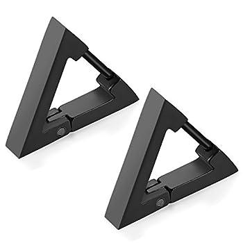 Flongo Men s Women Punk Black Stainless Steel Triangle Shape Design Hoop Earrings