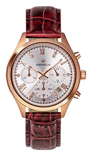 ORPHELIA dam kronograf klocka hylla med läderarmband bandet Burgund