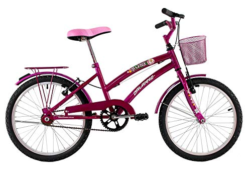 Bicicleta Infantil Aro 20 Feminina Susi Rosa Pink Com Para-lama e Cesta