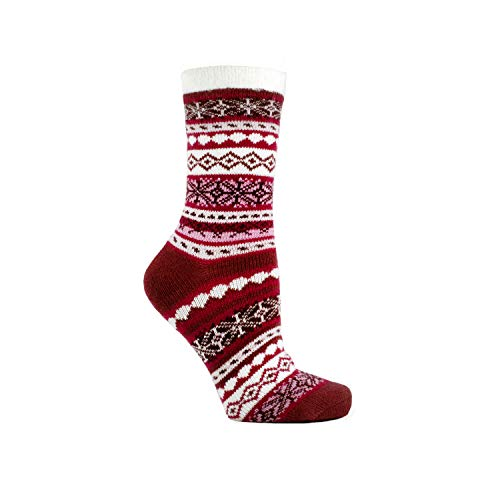 MinxNY Women's Double Layer Corduroy Non-Skid Warm Soft and Fuzzy Lavender and Shea Butter Infused Slipper Socks Gift, Burgundy