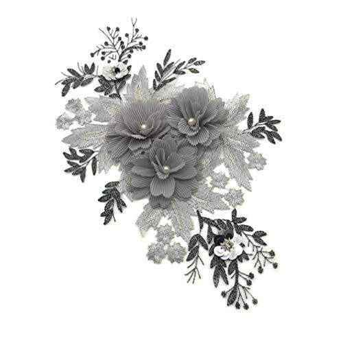 VOSAREA - Parche bordado de flor para coser sobre la flor de encaje, perla, tela, aplique para manualidades, ropa, scrapbooking, decoración