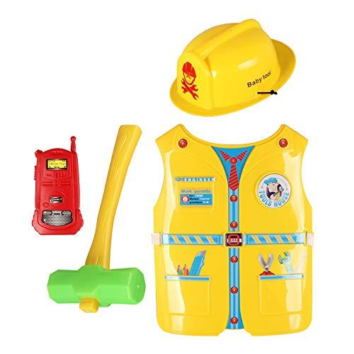 dailymall 4x Disfraz de Trabajador de Construcción para Niños Kit de Juego de Roles Disfraz de Disfraz de Fantasía