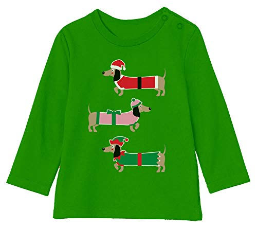 Camiseta bebé Unisex Manga Larga - Ropa Navidad Bebe - Perro Salchicha Navideño 18-24M 89/93cm Verde
