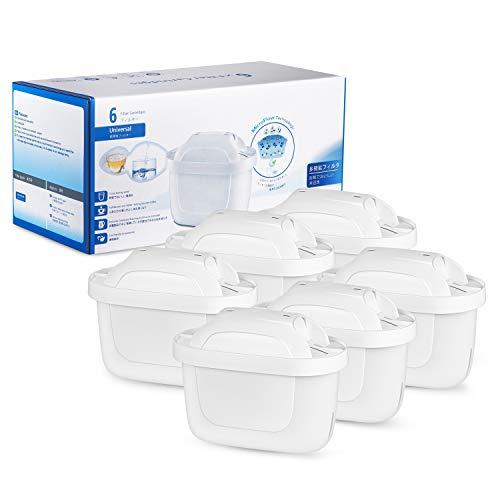 UOON Caraffa Filtrante per Acqua Filtri Brita Filtro Acqua Compatibile con BRITA MAXTRA+ Adatte per BRITA Brocche Cartucce Acqua di Confezione da 6 - Bianca