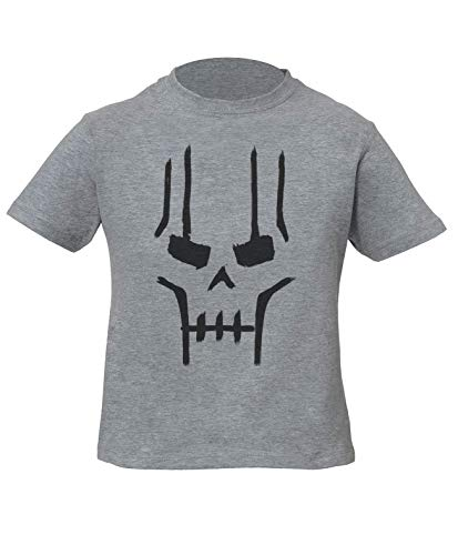 Necron Skull Niños Unisexo Niño Niña Camiseta Gris Kids Unisex Boys Girls Grey T-Shirt Tshirt T Shirt
