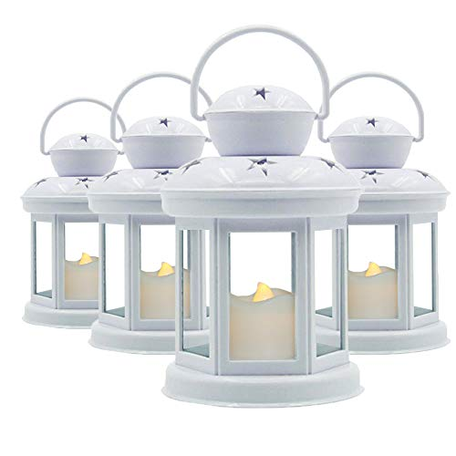 Decorative Lanterns Soft Flickering LED Candle Light White Glass Mounted Lanterns for Weddings and Home Decor Indoor and Outdoor Use 7.5 Inches High 4 Pack