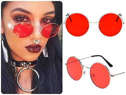 Gafas de sol redondas rojas para mujer retro hippy vintage 2020 Ibiza Festival Big Circle Lens Rojo Marco rojo y plateado. talla única