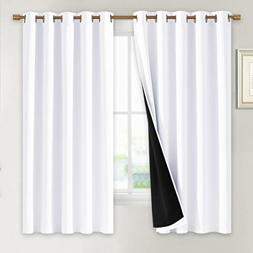 NICETOWN White 100% Blackout Lined Curtains, 2 Thick Layers Completely Blackout Window Treatment Thermal Insulated Drapes for Kitchen/Bedroom (1 Pair, 70 inches Width x 63 inches Length Each Panel)