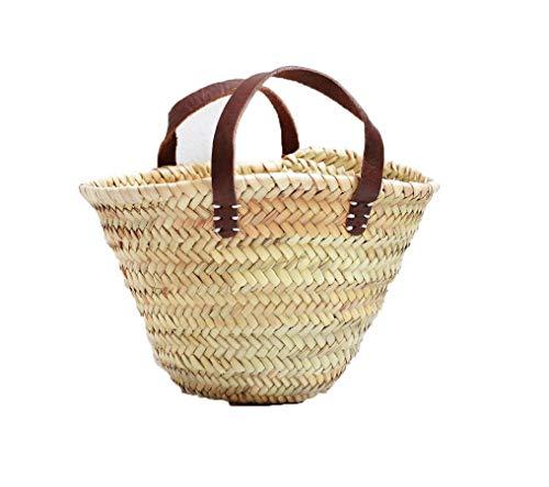 Birdikus Capazo de Palma o cesto de Mimbre Infantil, con asa de Cuero, Fibras Naturales. Aprox. 23x20x17 cm