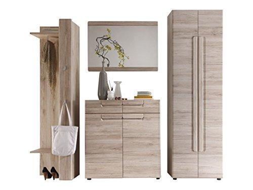 trendteam smart living  Garderobe Garderobenkombination 4-teiliges Komplett Set Malea, 240 x 191 x 38 cm in Eiche San Remo Dekor mit viel Stauraum und Ablagefläche