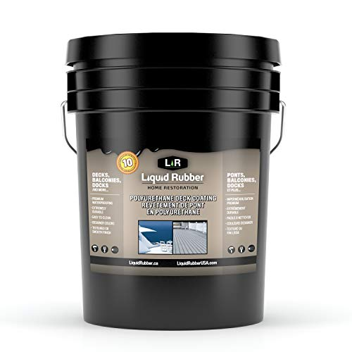 Liquid Rubber Textured Polyurethane Deck and Dock Coating - Easy to Apply - UV Resistant Sealant - Indoor/Outdoor Use - Neutral Beige, 5 Gallon