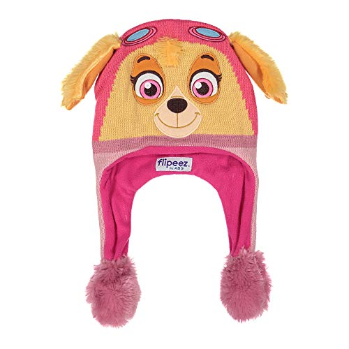 Nickelodeon Winter Hat, Paw Patrol Sky Squeeze and Flap Fun Cold Weather Beanie for Kids, Pink/Brown, Little Girl Age 4-7