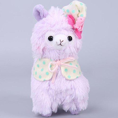 Weekendy Weiche komfortable Spielzeugpuppe Durable Plüsch Alpaka mit Pyjamas und Nightcap Plüsch Stofftiere Schlafanzug Alpaka Spielzeug für Jungen und Mädchen 14cm (lila)