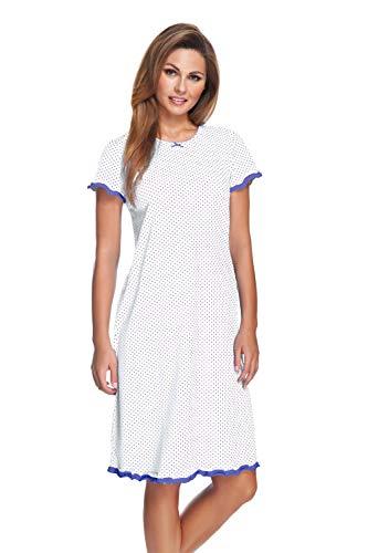 e.FEMME Damen Nachthemd Marion 308 aus Baumwolle mit Modal (Ecru/Jeans gepunktet, 46)