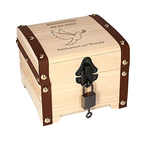 Schatztruhe Firmung mit Gravur - Geschenk, Aufbewahrungsbox aus Holz, Verpackung für Geldgeschenke, Schloss mit Schlüssel, Geschenk-Box