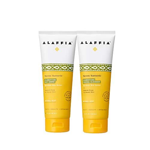 Alaffia - Neem Turmeric Clarifying Facial Cleanser & Day Cream Set, 3.4 Ounces Each