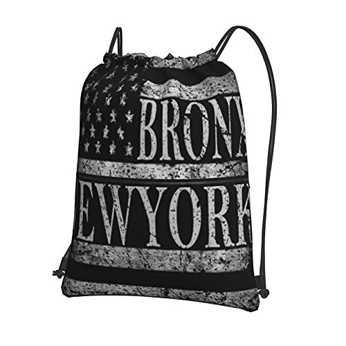 Zaino con coulisse, borsa da palestra, borsa sportiva con tasca con cerniera per uomini e donne, yoga, corsa, escursionismo, atletica di New York City, Brooklyn stilizzata bandiera americana